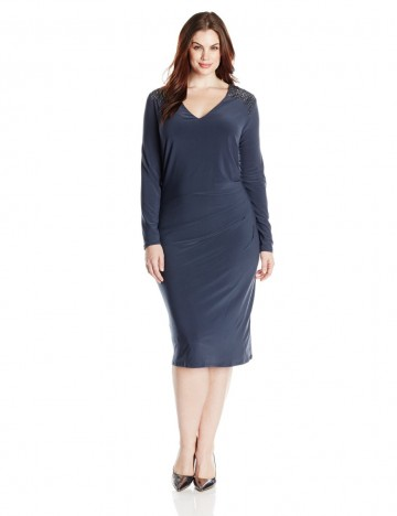 Anne Klein Plus-Size Embellished Shoulder V-Neck Long Sleeve Dress For Women