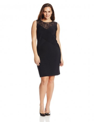 Calvin Klein Plus-Size Sleeveless Lace Banded Black Dress For Women