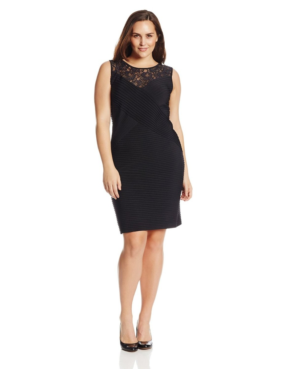 ec02ed63fd9 Calvin Klein Plus-Size Sleeveless Lace Banded Black Dress For Women ...