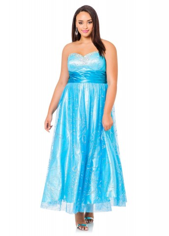 Ashley Stewart Plus Size Strapless Tulle Gown Dress For Women