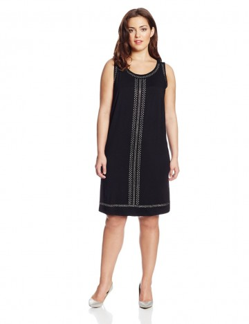 Karen Kane Plus Size Isabel Sleeveless Crew Neck Shift Dress For