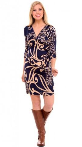 Olian - Shirred Side Faux Wrap Dress For Women