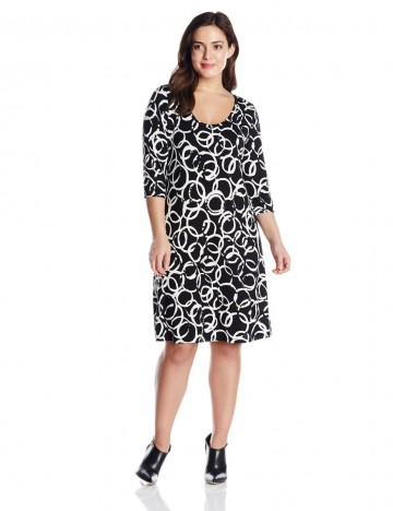 Karen Kane Plus-Size 3/4 Sleeve Artistic Ring T-Shirt Black and White Dress For Women