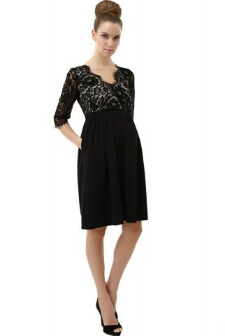 "Momo Maternity ""Adela"" Lace V-Neck Empire Waist with Side Pockets Dress"