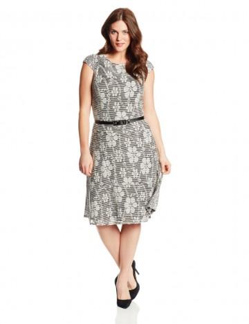 Anne Klein Plus-Size Cap Sleeve Black/Cream Print Swing Dress For Women