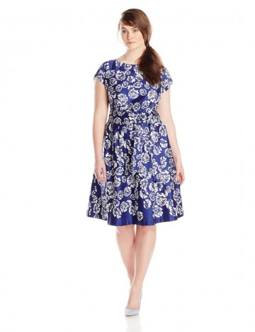 Anne Klein Plus-Size Ultramarine Combo Printed Cotton Boat Neck Fit and Flare Dress For Women