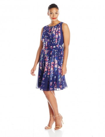 Adrianna Papell Plus-Size Pleated Neck Floral-Print A-line Dress For Women