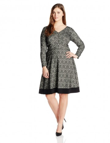 Adrianna Papell Plus-Size Long-Sleeve V-Neck Black Printed Fit-and-Flare Dress For Women