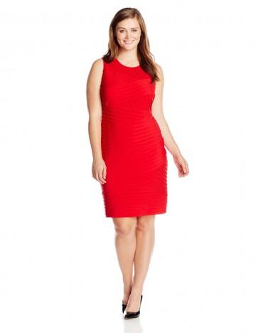 Calvin Klein Plus-Size Crew Neckline Crisscross Ribbing Sheath Dress For Women