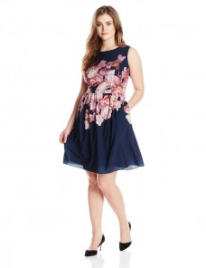 6204acc6afa Adrianna Papell Plus-Size Pleated Neck Floral-Print A-line Dress For ...