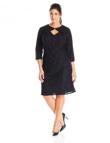 Adrianna Papell Plus-Size Three-Quarter Sleeve Lace Keyhole Neckline Oragami Dress For Women