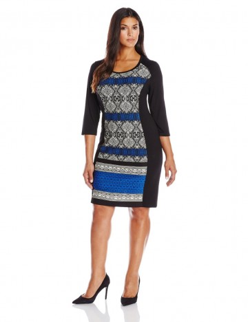 Karen Kane Plus-Size Patterned Panel Pullover Styling Dress For Women