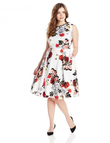 Adrianna Papell Plus-Size Rose Print Classic Pleat Fit and Flare Cotton Dress For Women