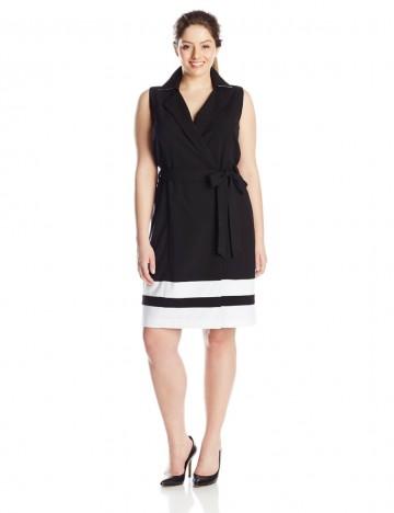 Calvin Klein Plus-Size Black and White Bottom Stripe Self Tie Shirt Dress For Women