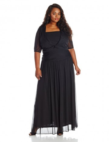 Adrianna Papell Plus-Size Elbow-Sleeve Pleated Skirt Ruched Bodic Gown With Jacket Dress For Women
