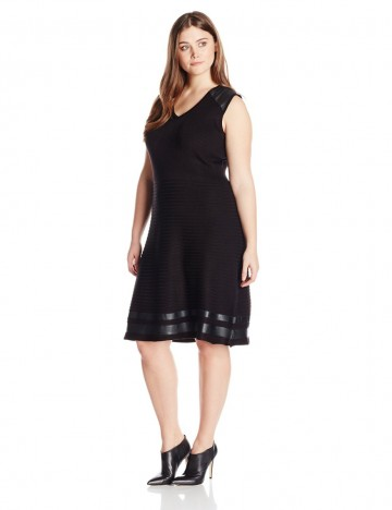 Calvin Klein Plus-Size V-Neckline with Faux-Leather Shoulders and Hemline Black Dress For Women