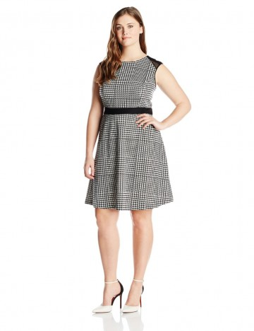 Calvin Klein Plus-Size Princess Seaming Fit and Flare Dress For Women