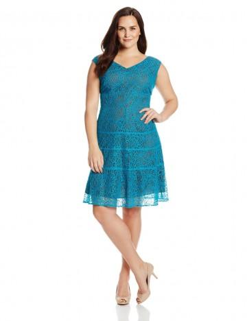 Anne Klein Plus-Size Portrait Necklace Lace Swing Party Dress For Women