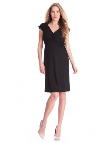 5171d69419f5a Seraphine Maternity Women's V-neck Black Side Twist And Drape ...