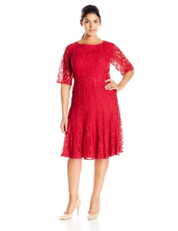 Adrianna Papell Plus-Size Red Elbow Sleeve Fit-and-Flare Lace Dress For Women