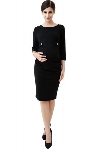"Momo Maternity ""Daisy"" Side Tabbed 3/4 Sleeves Crew Neck Sheath Dress"