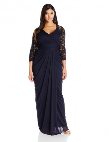 84545853e9b Adrianna Papell Plus-Size Ink Color Long Lace Sleeve V-Neck Gown For Women.  Price -  200