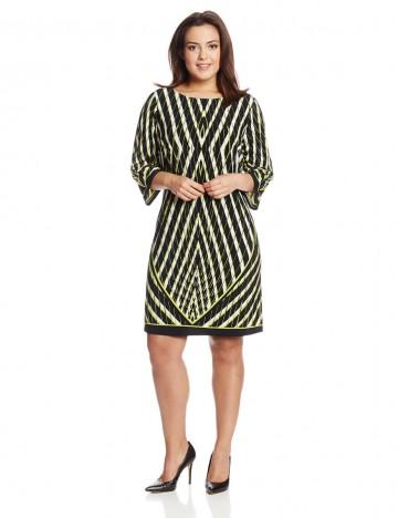 Calvin Klein Plus-Size Three-Quarter-Sleeve Printed Shift Dress For Women