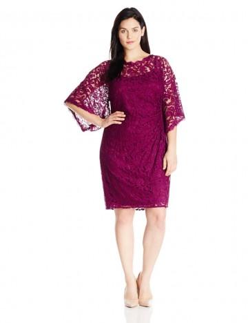 Adrianna Papell Plus-Size Kimono-Sleeve Lace Dress For Women. Price ...