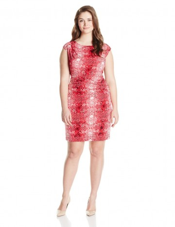 Calvin Klein Plus-Size Cap Sleeve Printed Side-Ruched Dress For Women
