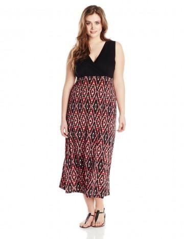 Karen Kane Plus-Size Surplice Neck Print Maxi Tank Sleeveless Dress For Women