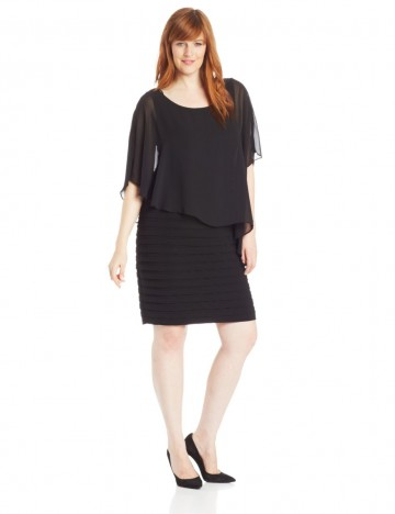 Adrianna Papell 55% Discount On Plus-Size Chiffon Drape Overlay Banded Dress For Women