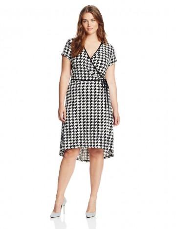 Anne Klein High Low Hem Houndstooth Print Dress For Plus-Size Women