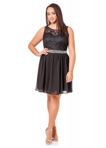 3db2ae1fbb7 Ashley Stewart Plus Size Lace Top Beaded Sleeveless Dress For Women ...