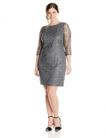 Adrianna Papell Womens Plus Size Metallic Charcoal Color Lace With