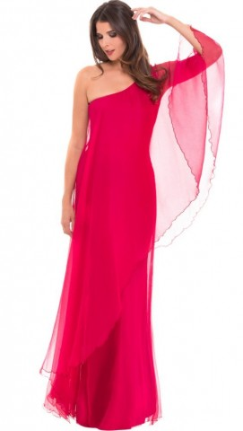 Olian - Maternity One Shoulder Chiffon Evening Gown For Women